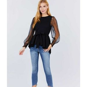High low style top sheer long sleeve black w ties